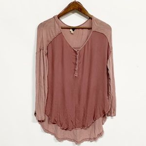 Free People | Blush Snap Front Hi-Low Henley Tee L